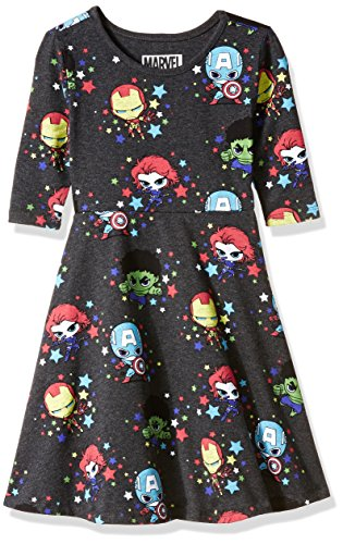 Marvel Little Girls' Characters Dress, Charcoal Heather, -