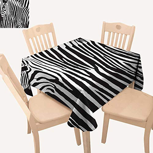 UHOO2018 100% Polyester Tablecloth Zebra with Animal Blended Over Itself to Create an Abstract Square/Rectangle Multicolor,52x 52 inch