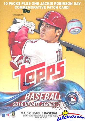 2018 Topps Update MLB Baseball EXCLUSIVE Factory Sealed Retail Box with Jackie Robinson Day PATCH RELIC! Look for RC & Auto's of Juan Soto, Ronald Acuna, Shohei Ohtani, Gleyber Torres & More! WOWZZER