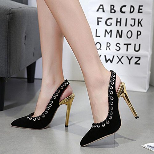 Pierced Black Women's High Suede amp; Party Night GAOLIXIA Heels Studded Heels Black pHqwZT