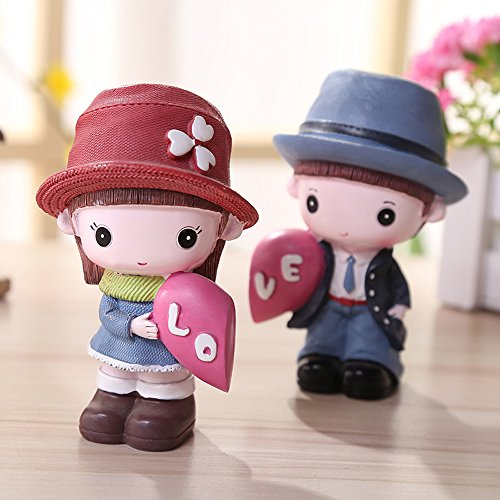 Uzhopm Lovely Cute Car Dashboard Ornaments Decorations Couples Dolls Car Home Office Decor (B)