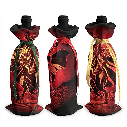 NBteach Halloween Headless Horseman Painting Wall Clip 3pcs Christmas Xmas Red Wine Glass Bottle Wraps Cover Bag Decorations Ornaments Theme Tasting Charms Accessories Gifts Set Party