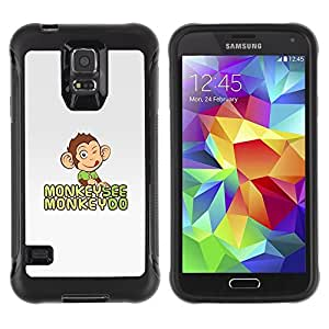 LASTONE PHONE CASE / Suave Silicona Caso Carcasa de Caucho Funda para Samsung Galaxy S5 SM-G900 / Monkey See Do Happy Grey Cute Drawing