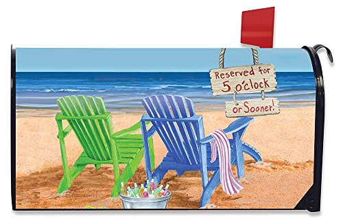 Briarwood Lane Beach Bum Summer Magnetic Mailbox Cover Beach Chairs Umbrella Standard by Briarwood Lane