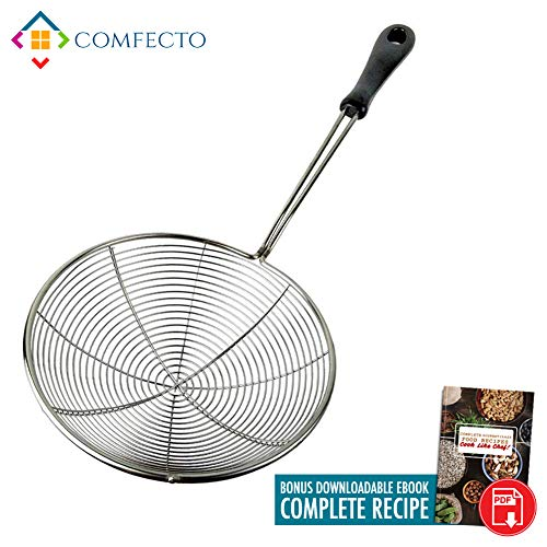 Stainless Steel Spider Strainer, 6.3 Asian Wire Skimmer Ladle for Cooking Frying Food Pasta Spaghetti Noodle Hot Pot, Stay Cool Handle with Hook for Easy Storage, Food Recipe Ebook Included