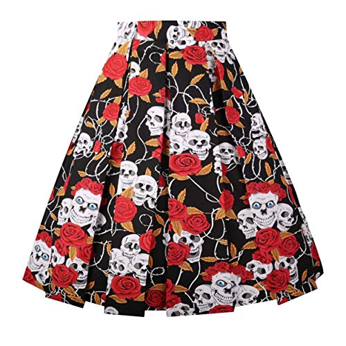 Dressever Women's Vintage A-line Printed Pleated Flared Midi Skirt Black-Skull-Dot Large ()
