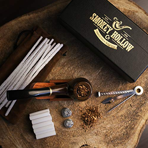 Tobacco Pipe   Pipes for Smoking Tobacco   Stylish, Cool and Distinguished Starter Pipe Kit   The Perfect Gift for a Classy Gentleman by Smokey Hollow Co by Smokey Hollow (Image #1)