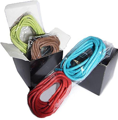"""Shoeslulu 20-59 """"Premium Runde gewachste Canvas Schnürsenkel Schnürsenkel Assortierte Schachtel mit 4 Paaren"""