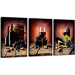 Live Art Decor - 3 Piece Canvas Wall Art Vintage Wine Grape Wall Pictures Still Life Painting for Modern Kitchen Dining Room Wall Decor 16x24inchx3pcs
