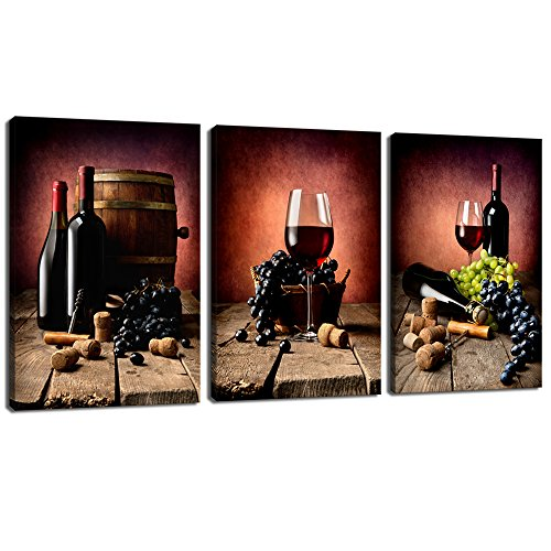 Live Art Decor - 3 Piece Canvas Wall Art Vintage Wine Grape Wall Pictures