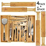 Best Flatware Silverware Kitchen Drawers - Monpearl Expandable Bamboo Drawer Organizer, 4 pcs Adjustable Review