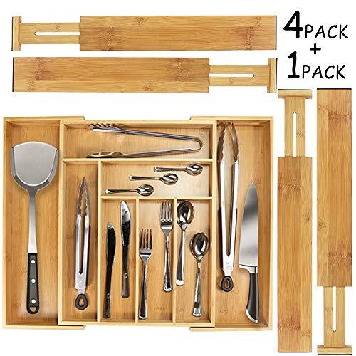 Monpearl Kitchen Drawer Organizer, 4 pcs Adjustable Bamboo Drawer Dividers, Silverware Organizer, Utensils Flatware Tray for Kitchen, Dresser, Bedroom, Bathroom, with Non-Slip ()