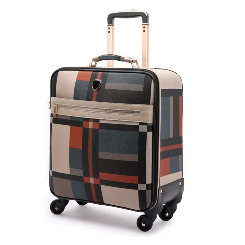 スーパーライトウェイトトラベルキャビンハンドキャリングバッグ4キャスター付き、飛行機承認ラップトップコンパートメントトロリーバッグ、拡張可能な旅行用荷物、ほとんどの航空会社に最適なキャビンサイズ。 24in Suit plaid B07K4CHC36