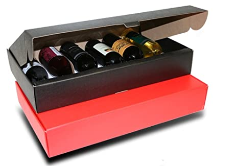 Set de 30 cajas de cartón para botellas (Negro, 6 botellas, 56x34x9 cm