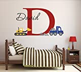 "art for kids rooms Custom Construction Truck Name Wall Decal for Boys Nursery Baby Room Art Decor Vinyl Sticker (34""W x 22""H)"