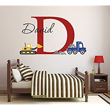 8efe8983656b Lovely Decals World LLC Custom Construction Truck Name Wall Decal for Boys  Nursery Baby Room Art
