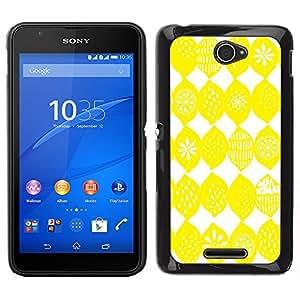 Sony Xperia E4 Único Patrón Plástico Duro Fundas Cover Cubre Hard Case Cover - Lemon Pattern White Bright Citrus Sun