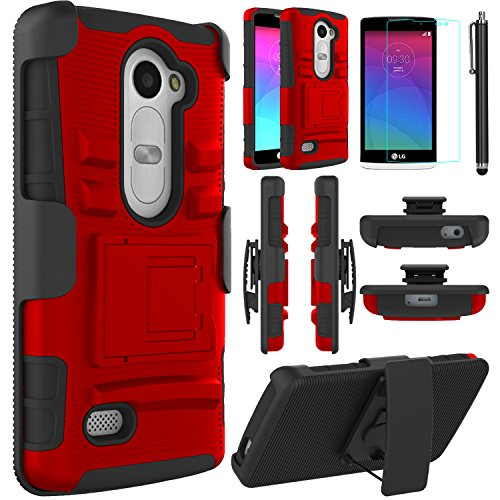 LG Leon Case, LG Power Case, LG Destiny Case,EC™ Hybrid Dual Layer Combo Armor Protective Case Cover with Kickstand and Locking Belt Swivel Clip for LG Tribute 2/ LG Leon LTE C40 (Red+Black)