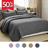 "Bedsure Quilt Set Solid Grey Full/Queen(86""x96"") Basketweave Pattern Lightweight Hypoallergenic Microfiber Simone by"
