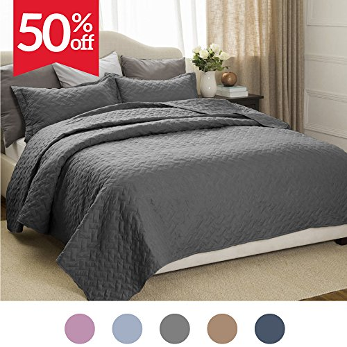 Bedsure Quilt Set Solid Grey Full/Queen(86″x96″) Basketweave Pattern Lightweight Hypoallergenic Microfiber Simone by
