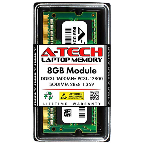 A-Tech 8GB DDR3 / DDR3L 1600MHz SODIMM PC3L-12800 2Rx8 1.35V CL11 Non-ECC Unbuffered 204-Pin SO-DIMM Notebook Laptop RAM Memory Upgrade Module