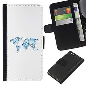 KLONGSHOP // Tirón de la caja Cartera de cuero con ranuras para tarjetas - Continentes Tierra Agua Planeta Arte Océano - Apple Iphone 5C //