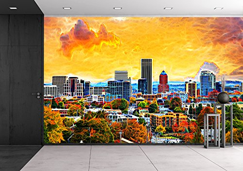 Portland Oregon Downtown City During Sunset in the Fall Season Abtract Painting