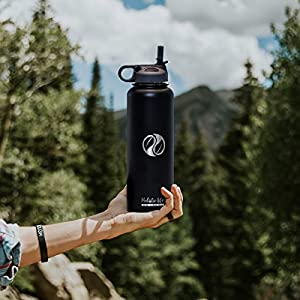 Holistic Flask (40 oz., Black) - Stainless Steel Hydroflask Water Bottle Double Walled/Vacuum Insulated - BPA/Toxin Free – Wide Mouth with 2 Lids (Straw Lid, Carabiner Lid), 32 oz.- 40 oz.