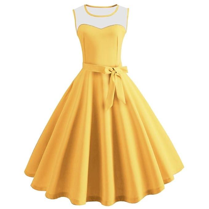 Vestido de mujer♥♥♥Zarupeng Vestido Vintage Estampado de Niñas Años 50 para Fiesta