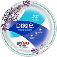Dixie Everyday Paper Plates, 8 1/2, Lunch or Light Dinner Size Printed Disposable Plates,90 Count