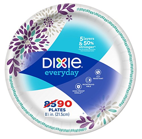 "Dixie Everyday Paper Plates, 8 1/2"", 90 Count, Lunch or Light Dinner Size Printed Disposable Plates"