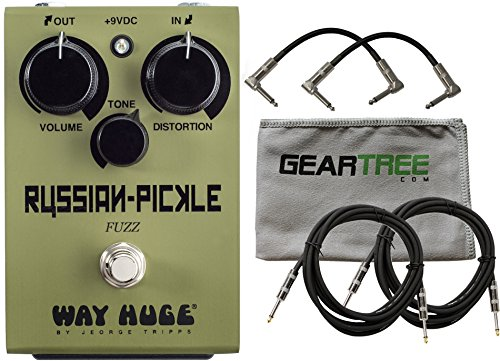 Grunge Distortion Guitar (Way Huge WHE408 Russian Pickle Classic '90s Black Russian style Fuzz Distortion Pedal Based on the BC183 Silicon Transistor with 2 Path Cable 2 Instrument Cable and Zorro Sounds Cloth)