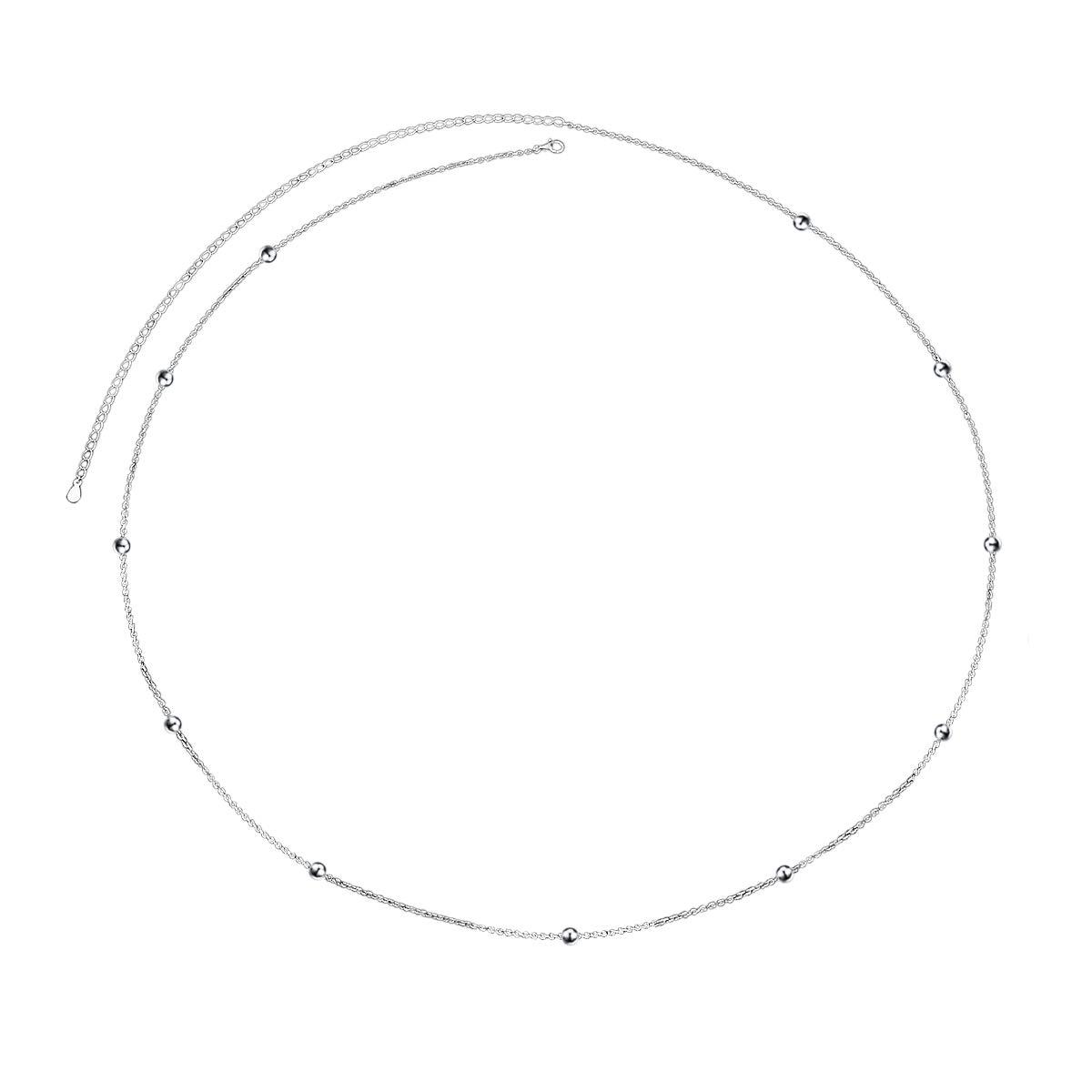 ALPHM S925 Sterling Silver Bead Waist Belt Belly Chain Adjustable Body Chain by ALPHM