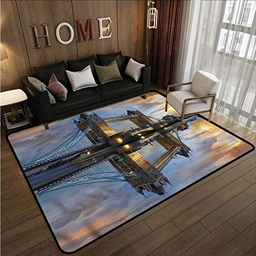 """Price comparison product image Kids Rug London Sight of Tower Bridge Thames Anti-Static,  Water-Repellent Rugs 3'3""""x5'3"""""""