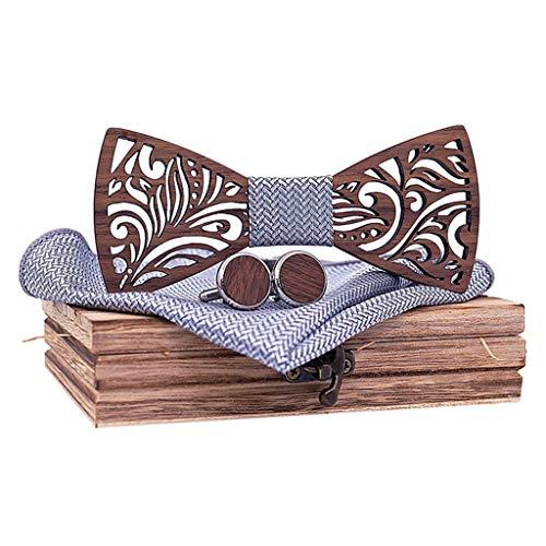 Hermes Designer Ties Silk Necktie - BXzhiri Men's Bowtie Wood Hollow Classic Handmade Mens Wood Bow Tie with Matching Pocket Square Men's Cufflinks Lapel Flower Set