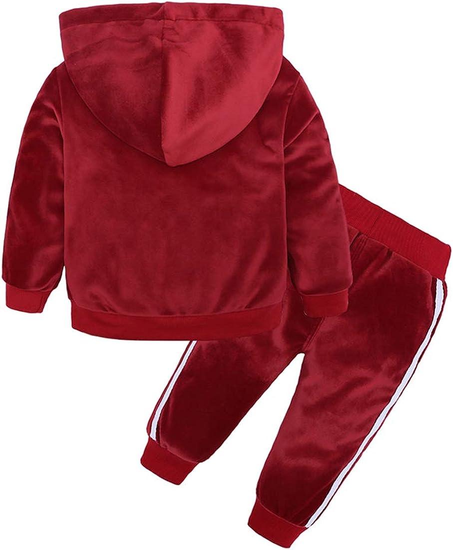 Boys Girls Velvet Hooded Tracksuit Sweatshirt Top Sweatpants Hoodie Outfit Set Red