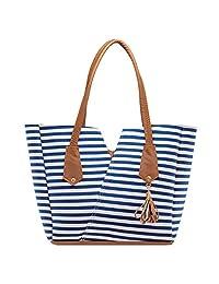 """Bolsa de Dama Grande Rayas Azul Modelo A-403 Bolso de Mujer""""Bonita Bags"""" 28x13x29cm"""
