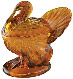 Amber Glass Turkey Candy Dish by Miles Kimball