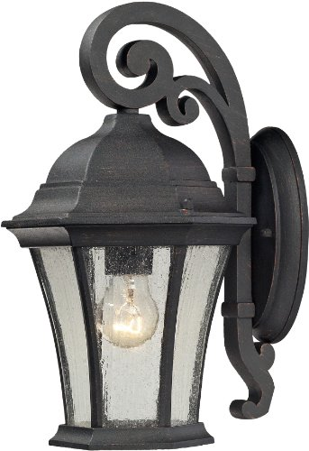 Elk 45050/1 8 by 14-Inch Wellington Park 1-Light Outdoor Wall Sconce with Seedy Glass Shade, Weathered Charcoal Finish ()
