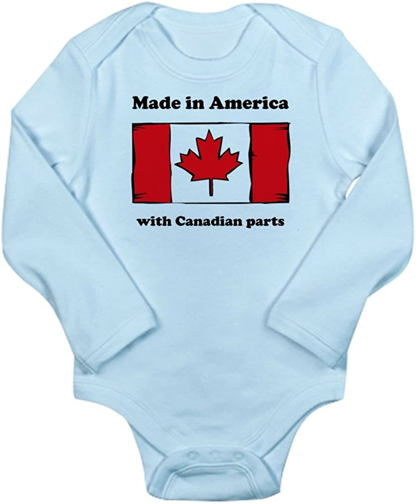 CafePress Made in America with Canadian Parts Body Suit Cute Long Sleeve Infant Bodysuit Baby Romper Sky Blue