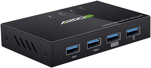Negaor AM-404K USBプリンター共有スイッチャー4ポートキーボードマウスUディスクHDD USBコントローラーブラック
