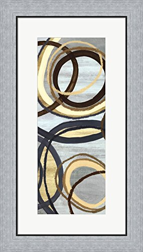 Jenis Print (Great Art Now Tuesday Blue Panel IV by Jeni Lee Framed Art Print Wall Picture, Flat Silver Frame, 16 x 28 inches)