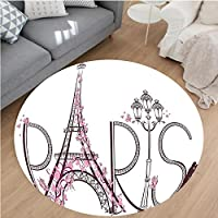 Nalahome Modern Flannel Microfiber Non-Slip Machine Washable Round Area Rug-fel with Paris Lettering Illustration Couple Trip Flowers Floral Artful Design Pink White area rugs Home Decor-Round 51