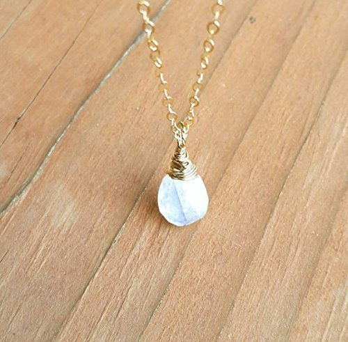 Genuine Rainbow Moonstone In 14K Gold Filled Necklace 18 Inches Length