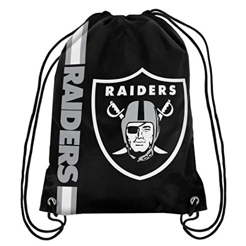 Oakland Raiders Football Team Logo Side Stripe Drawstring Backpack Sling Bag knapsack by Forever