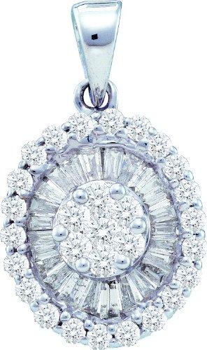Or blanc 14carats 0.86DWT Diamant Fleur pendentif