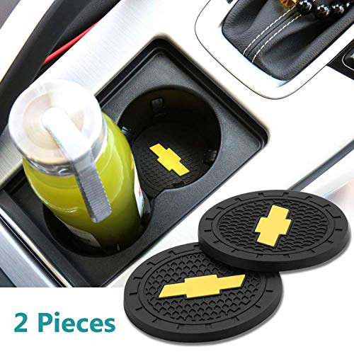 (monochef Auto Sport 2.75 Inch Diameter Oval Tough Car Logo Vehicle Travel Auto Cup Holder Insert Coaster Can 2 Pcs Pack (Fit Chevrolet))