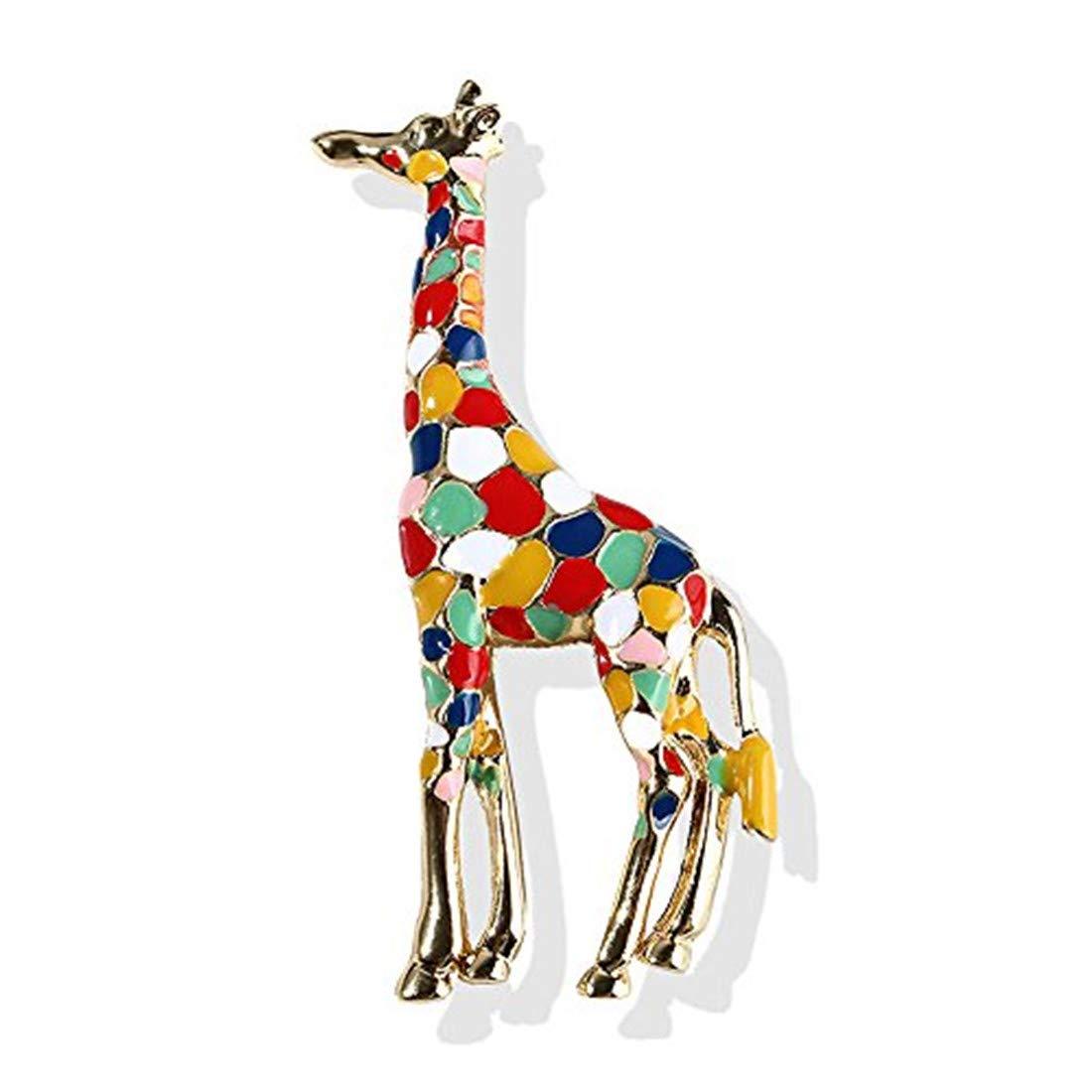 SwanElegant Cute Enamel Lapel Brooch Pin Set Girls Women,Animal Brooch Pin Badges Clothes Bags Backpacks Hat(Giraffe-Colorful)