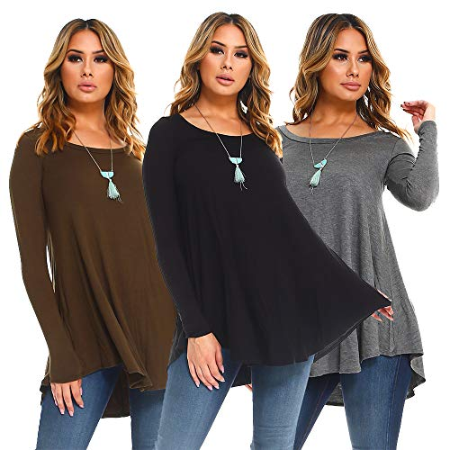 Isaac Liev Womens 3-Pack Long Sleeve Flowy Tunics (Small, Black, Olive & Charcoal)