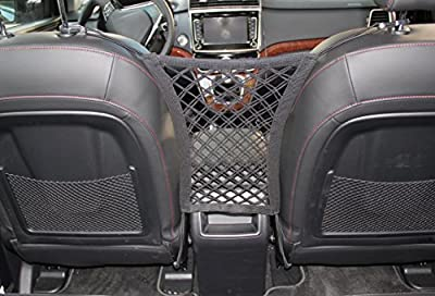 "INNX Stretchable Back Seat Dog Barrier with Storage Net, Front Seat Pet Barrier for Sedan,Suv, Mini-Van,pick up truck (11"" x 12.6"")"